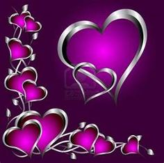 Silver hearts bunched together with purple inside them