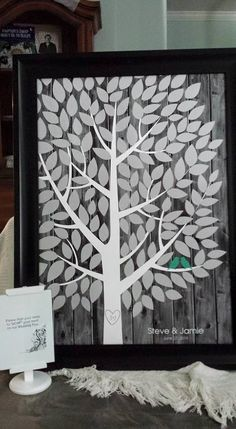 Darkwood Wedding Tree | Guest Book Alternative | Rustic Wedding | Customer Photo | Wedding Colors - Green & Gray | peachwik.com