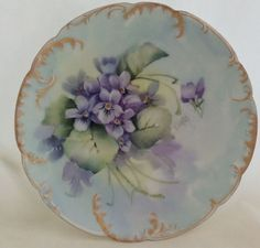 Hand Painted VIOLETS Haviland Limoges 7.375 in Coupe Plate Signed
