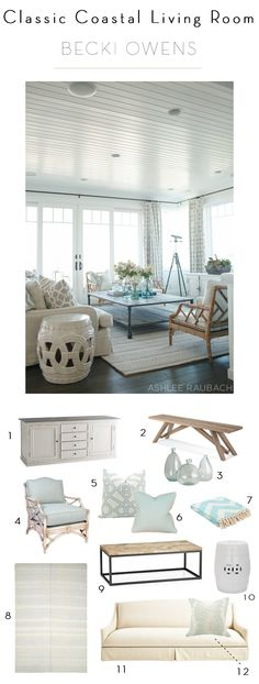 Classic Coastal Living Room love the coffee table