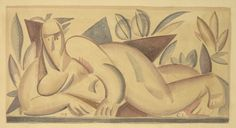 Sergey Chekhonin (1878 - 1936). Nude. 1919, Watercolour on paper, 19.5x35
