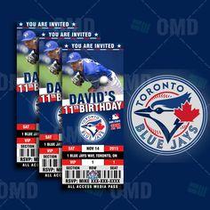 2.5x6 Toronto Blue Jays Sports Party Invitation, Sports Tickets Invites, Blue Jays Baseball Birthday Theme Party Template by sportsinvites