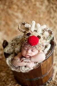 Santa's Reindeer Hat Baby Photography Prop Sizes Preemie, Newborn, 0-3 months, 3-6 months