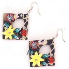 'Colorful Polymer/Fimo Square Earrings w/ Rhinestone Accents' is going up for auction at 11am Wed, Sep 5 with a starting bid of $5.