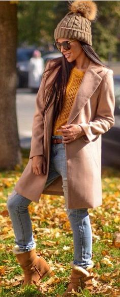 #winter #fashion /  Pink Coat + Brown Beanie
