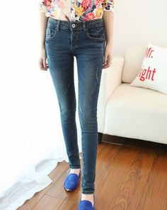 Korean Style Skinny Fashion Denim Pant Deep Blue--Click the picture can place an order,we support wholesale denim. #shoes #wholesale #fashion #lovely #cheap #Korean #dress #sexy #denim