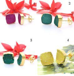 Wonderful Sale ! 10mm Square Sugar Druzy 24k Gold Plated Stud Earring Jewelry #Handmade #Stud