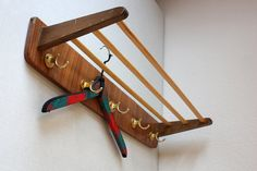 Coat rack wood / shabby wall hooks / parcel shelf / wooden / brown / Mid Century / 50s 60s / hallway entrance area decoration / vintage