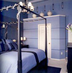stripe wall idea-w silverBlue Bedroom Ideas