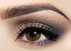 Neutral with a Pop     If you're hesitant of using color on your eyes, simply start out with your basic tans and browns. Then, add a swipe of a light blue in the outer crease for depth. Finally, finish with a small detail of purple shadow or liner just below the eye towards the outer corner. It's a small dose of color, but it surely packs a punch.