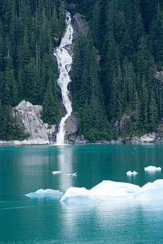 Waterfall,Tacy Arm Fjord , Alaska