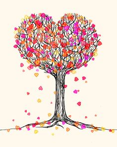 Love in the Fall - Heart Tree Illustration Art Print - cute heart themed drawing. : )