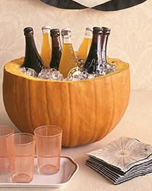 Pumpkin as ice bucket. Cleverness.