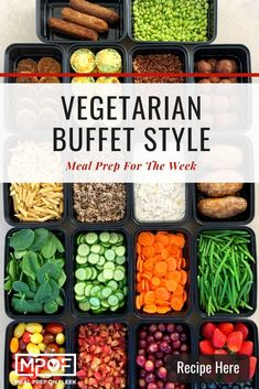 Buffet Style Meal Prepping: Vegetarian - Meal Prep on Fleek™ Vegetarian Buffet, Vegetarian Meal Prep, Lunch Meal Prep, Meal Prep Bowls, Healthy Meal Prep, Vegetarian Recipes, Going Vegetarian, Vegan Breakfast Recipes, Snack Recipes