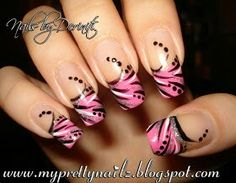 Pink with white and black decoration nails
