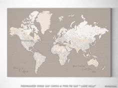 Printable men gift highly detailed map printable large world map personalized large highly detailed world map canvas print or push pin map light gumiabroncs Gallery