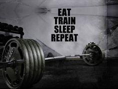 "Motivational Wall Decor - Home Gym Motivational ""Eat, Train, Sleep, Repeat"" Wall Decal"