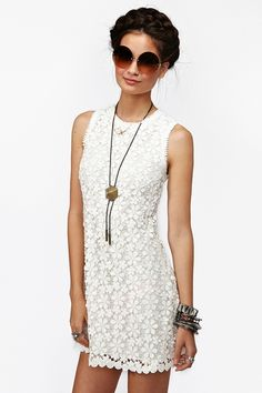 """Olie Crochet Dress - Like the material - Vintage-inspired ivory crochet dress featuring a daisy design and scalloped hem. Hook/eye and exposed zip closure at back. Loose fit, fully lined. Looks sweet paired with circle shades and ankle boots! By Dolce Vita.     *Shell: 100% Cotton; Lining: 100% Polyester  *32.5"""" length"""