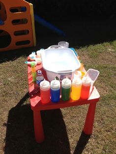 "Fun with coloured water bottles ("",)"