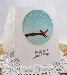 I was so happy with how this card turned out!  Video on StampNation!  http://catherinepooler.com/2013/10/snowy-bird-branch/  #stampnation  #christmascardmaking
