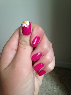 Beautifully simple. Pink flower nails
