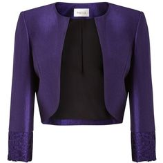 Precis Petite Isla Shimmer Cropped Jacket, Purple ($130) ❤ liked on Polyvore featuring outerwear, jackets, petite, evening jackets, purple jacket, precis petite, petite jackets and long sleeve jacket