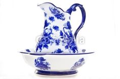 Blue and white antique pottery pitcher and basin