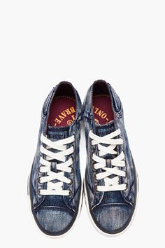 6839cd62473c2 DIESEL blue Exposure Low-top denim sneakers