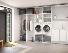 Browse laundry room ideas and decor inspiration. Discover designs for custom laundry rooms and closets, including utility room organization and storage solutions. Modern Laundry Rooms, Laundry Room Layouts, Laundry Room Cabinets, Basement Laundry, Laundry Room Organization, Laundry Room Design, Laundry Room Inspiration, Paint Colors For Living Room, Small Room Bedroom