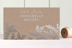 Leaves and Kraft Foil-Pressed Place Cards by Katharine Watson at minted.com