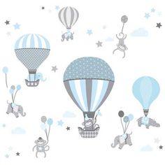 Hochwertig Baby Wandtattoo Tiere Mit Luftballons Für Kinderzimmer. Zauberhafte Schöne  Äffchen, Elefanten Und Nilfperde In