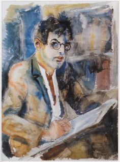 Rudolf Schlichter: Selbstporträt, Aquarell (60x45)