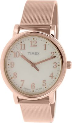 Timex Women's Originals T2P463 Rose-Gold Stainless-Steel Analog Quartz Watch with Beige Dial ** Click on the image for additional details. (This is an Amazon Affiliate link and I receive a commission for the sales)