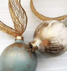 Hand Painted Golden Glam Christmas Ornament - The Chelsea Project Painted Christmas Ornaments, Glitter Ornaments, Hand Painted Ornaments, Holiday Ornaments, Handmade Christmas, Christmas Holidays, Christmas Bulbs, Diy Ornaments, Country Christmas