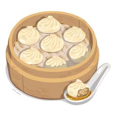 Xiao long boa (soupy pork dumplings) inspired by our magical meal from Din Tai Fung #FoodStudy Dumplings, Art Kawaii, Real Food Recipes, Yummy Food, Food Doodles, Cute Food Art, Food Sketch, China Food, Sushi