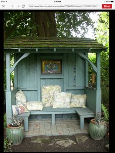 Cosy garden booked from an old wooden bus stop
