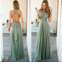 New! Silky multi-way maxi dress This is brand new! Silky smooth gorgeous dress that can be tie in all different ways! You can make it halter, one shoulder or wraps around your body. Feels amazing and sexy on your body! Dresses Maxi