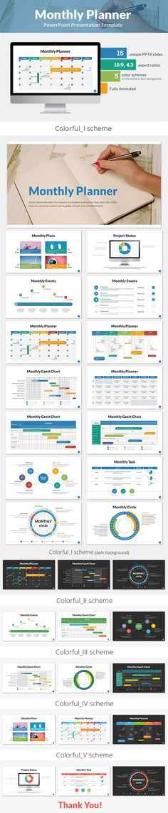Monthly Planner PowerPoint Presentation Template - #Business#PowerPoint #Templates