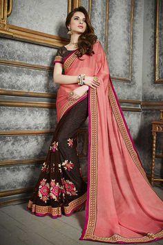 Buy Pink Chiffon Designer Saree Online in low price at Variation. Huge collection of Designer Sarees for Wedding. #designer #designersarees #sarees #onlineshopping #latest #lowprice #variation. To see more - https://www.variation.in/collections/designer-sarees.