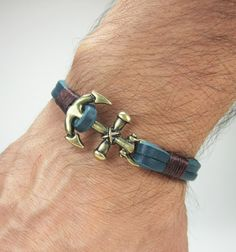 Men's Leather Bracelet Men Leather bracelet Blue by ZEcollection