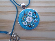 Round Floral Pendant in Blue by FernandaMcCormack on Etsy