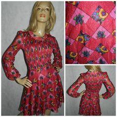 Vintage 60s Pink/multicoloured GLITTER LUREX flower power Vera Mont mini MOD Gogo dress 8 Kitsch 1960s by HoneychildLoves on Etsy