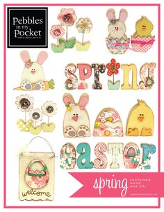 Spring Wood Craft Projects available at Pebbles in my Pocket