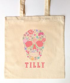 Day of the Dead - Trick or Trick Bag - Custom Printed Children's Candy Bag - Halloween Trick or Treat Bag - Flower Skull