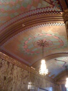 Art Deco detail. Ceiling, lobby Philcade Building, Tulsa, OK