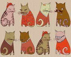 Meowzers!!! Sweater Cats Art Print