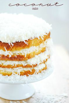 Coconut Cake | white cake mix but enhanced with sour cream and other great but simple ingredients