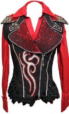 Black Red and Silver Vest set, Trudy