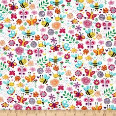 Michael Miller Busy Bee Pink from @fabricdotcom  Designed for Michael Miller, this cotton print fabric is perfect for quilting, craft projects, apparel and home décor accents. Colors include yellow, white, turquoise, hot pink and purple.