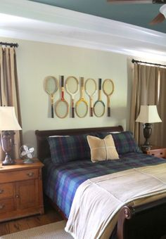 The Decorologist:  display those vintage tennis rackets!